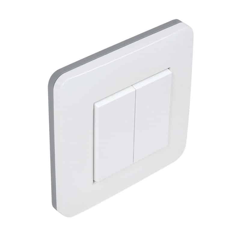 Accessoire pour luminaire interrupteur mural sans fil 2 boutons profil