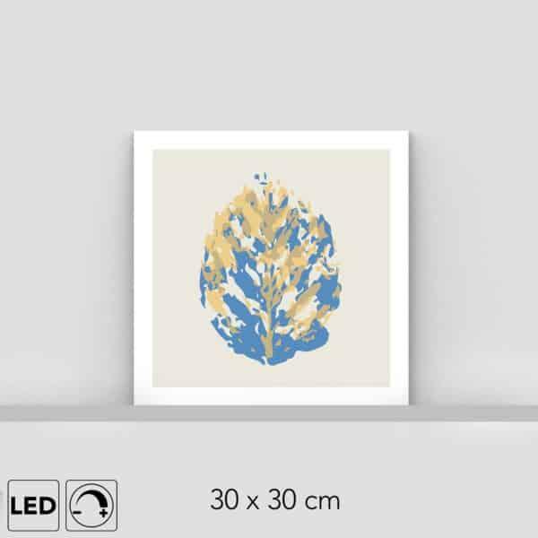 Lampe feuille jaune et bleue