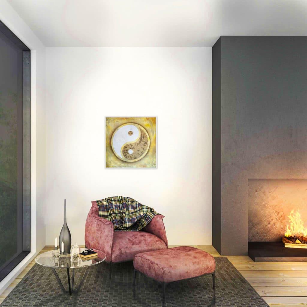 Applique murale yin yang allumée